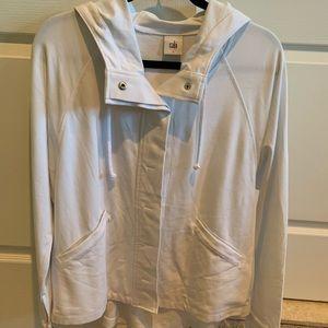 NWOT CAbi White Knit Hooded Jacket Large